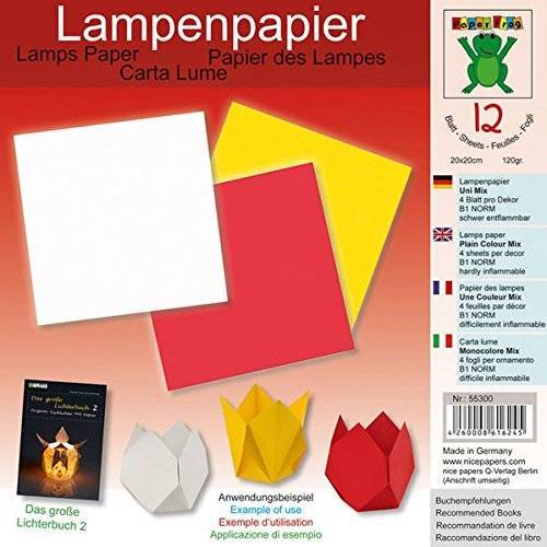 - Lampenpapier Uni Mix 20 x 20 cm: Papier für Bücher: Das große Lichterbuch 2 (ISBN 978-3-938127-20-9), Das große Lichterbuch (ISBN 978-3-938127-03-2) (Origami Lichter falten aus Lampenpapier) - Preis vom 17.01.2021 06:05:38 h