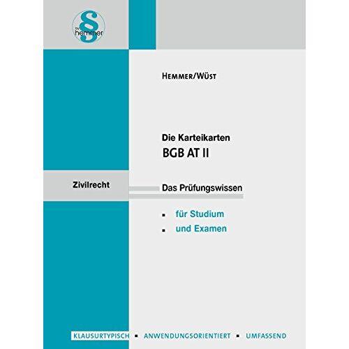 Karl-Edmund Hemmer - Karteikarten BGB AT II (Karteikarten - Zivilrecht) - Preis vom 19.01.2021 06:03:31 h