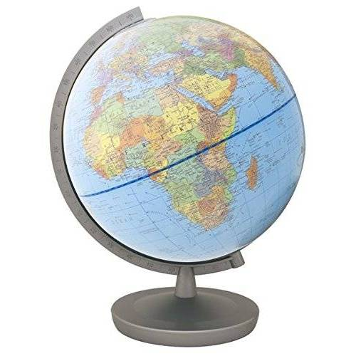 Columbus Globus - Columbus Duplex Leuchtglobus, ø 26 cm: Meridian Kunststoff silberfarben, Fuß Metall silberfarbene (Classic Line by COLUMBUS) - Preis vom 12.11.2019 06:00:11 h