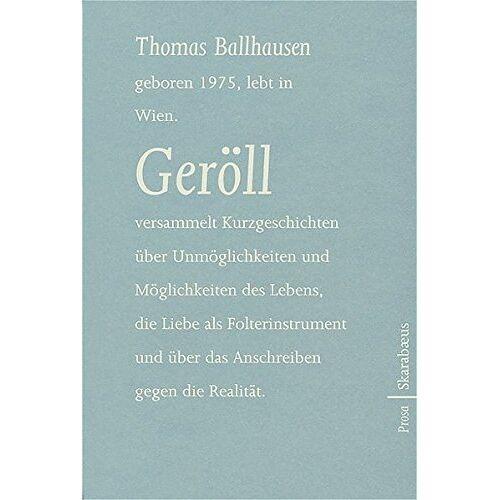 Thomas Ballhausen - Geröll: Prosa - Preis vom 27.02.2021 06:04:24 h