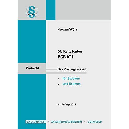 Karl-Edmund Hemmer - Karteikarten BGB AT I (Karteikarten - Zivilrecht) - Preis vom 20.10.2020 04:55:35 h