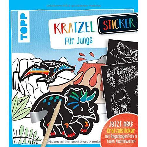 frechverlag - Kratzel-Stickerbuch für Jungs: Kratzelbuch mit über 60 Stickern zum Kratzeln, 20 Ausmalseiten und Holz-Kratzstift. - Preis vom 25.10.2020 05:48:23 h