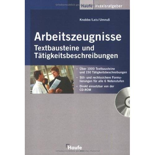 Thorsten Knobbe - Arbeitszeugnisse - Textbausteine und Tätigkeitsbeschreibungen mit CD-ROM - Preis vom 21.10.2020 04:49:09 h