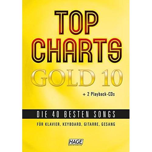 Helmut Hage - Top Charts Gold 10 mit 2 Playback CDs: Die 40 besten Songs für Klavier, Keyboard, Gitarre und Gesang - Preis vom 21.01.2021 06:07:38 h