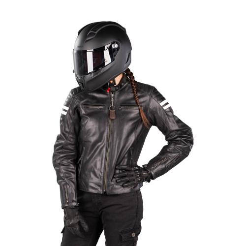 Segura Motorradjacke Segura Stripe Damen Schwarz-Weiß