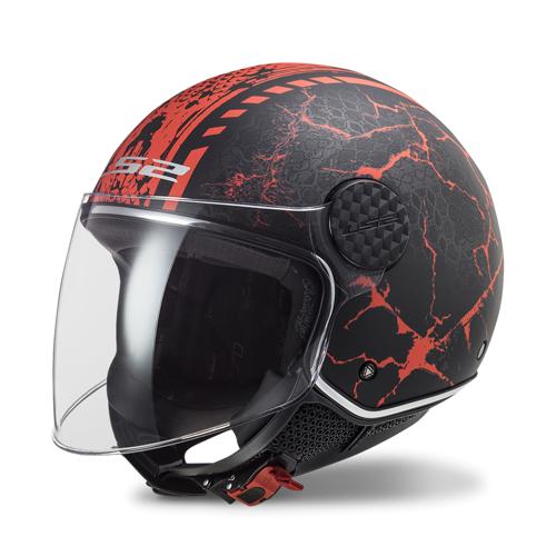 LS2 Offener Helm LS2 OF558 Sphere Lux Schwarz-Rot