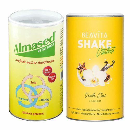 Diverse Beavita Vitalkost Plus Vanilla Chai + Almased-Pflanzen-Eiweißkost 1 St Set