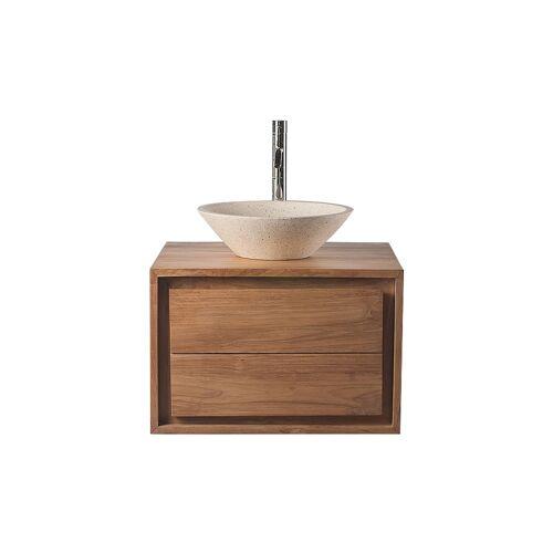 Miliboo Badezimmermöbel: Waschtisch Teakholz und Waschbecken Terazzo PEKKA
