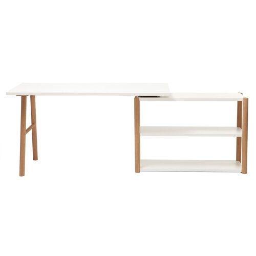 Miliboo Dreh-Schreibtisch skandinavisches Design Weiß und Eiche GILDA