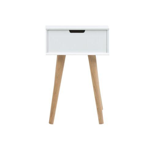 Miliboo Skandinavischer Nachttisch Holz und Weiß SNOOP