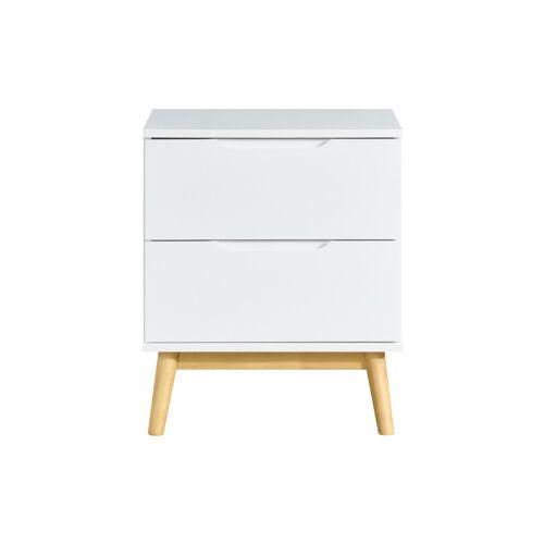 Miliboo Skandinavischer Nachttisch in weiß und aus Holz 2 Schubladen FELIX