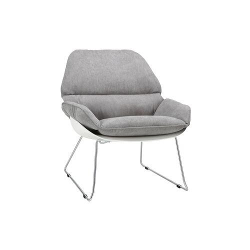 Miliboo Design-Sessel KOKON aus weißer Schale und grauem Stoff