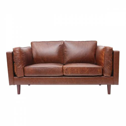 Miliboo Vintage-Ledersofa Braun 2 Sitzplätze CURTIS