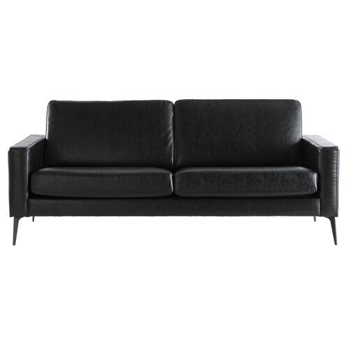Miliboo Vintage-Sofa Schwarz 3 Sitzplätze RICCI