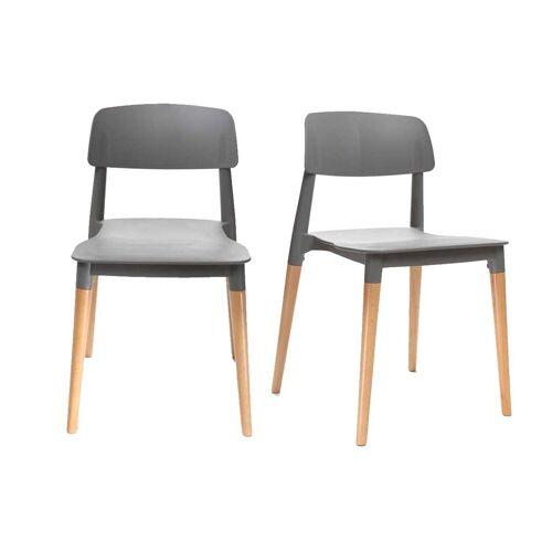 Miliboo 2er-Set skandinavische Design-Stühle Grau GILDA