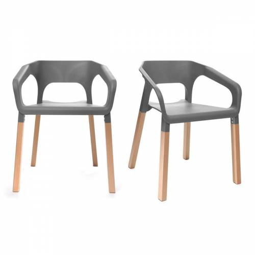 Miliboo 2er-Set skandinavische Design-Stühle Grau HELIA