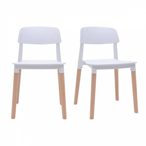 Miliboo 2er-Set skandinavische Design-Stühle Weiß GILDA