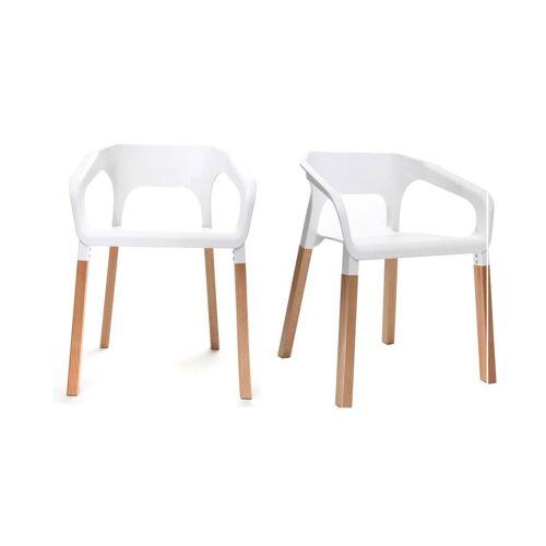 Miliboo 2er-Set skandinavische Design-Stühle Weiß HELIA