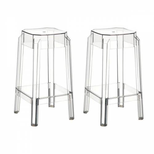 Miliboo Design-Barhocker Transparent 65 cm 2er-Set CLEAR