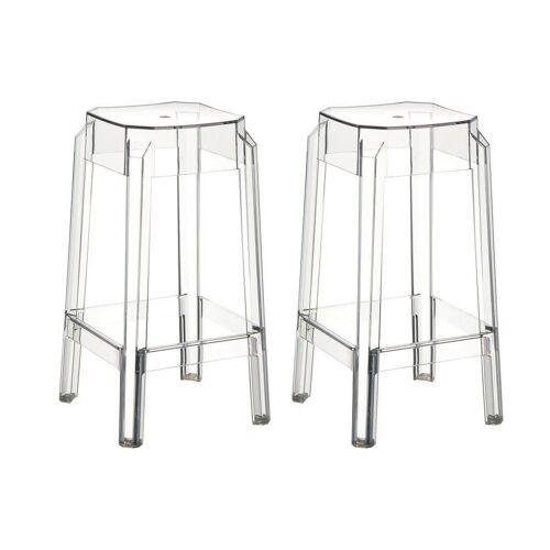 Miliboo Design-Barhocker Transparent 75 cm 2er-Set CLEAR