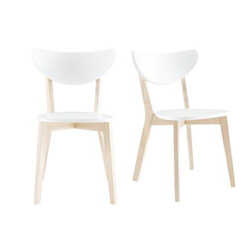 Miliboo Design-Holzstuhl mit Weiß LEENA (2 Stck.)