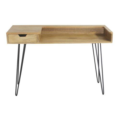 Miliboo Design-Schreibtisch aus Mangoholz mit Hairpin Legs Metall Schwarz VIBES