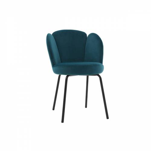Miliboo Design-Stuhl aus petrolfarbenem Samt FLOS