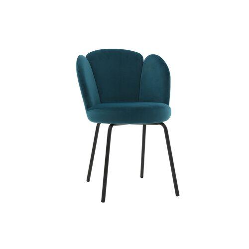 Miliboo Design-Stuhl aus petrolfarbenem Velours FLOS