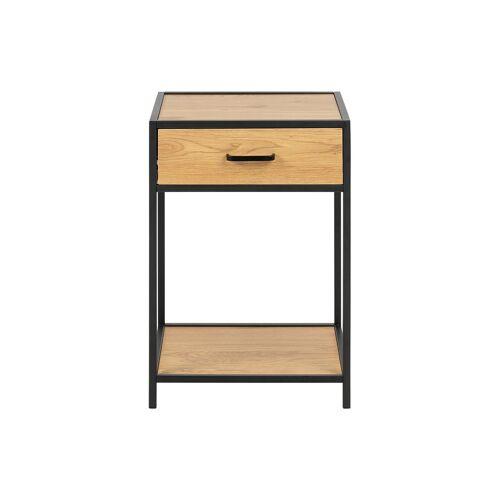 Miliboo Nachttisch im Industrial Style Holz und schwarzes Metall TRESCA