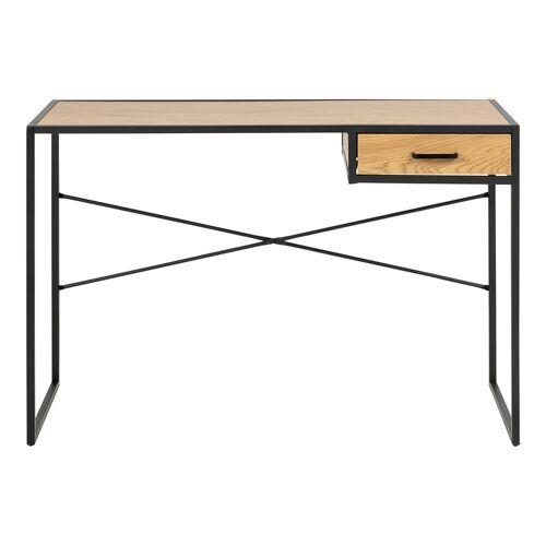Miliboo Schreibtisch im Industrial Style aus schwarzem Metall und Holz TRESCA