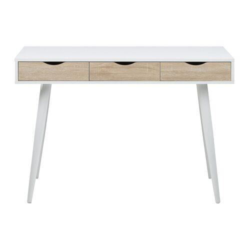Miliboo Schreibtisch im skandinavischen Look weiß und Holz BALZAC