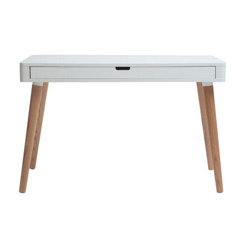 Miliboo Schreibtisch skandinavisches Design Weiß und Holz L115 cm TOTEM
