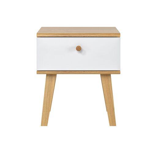 Miliboo Skandinavischer Nachttisch 1 Schublade weiß und Eiche MAHE