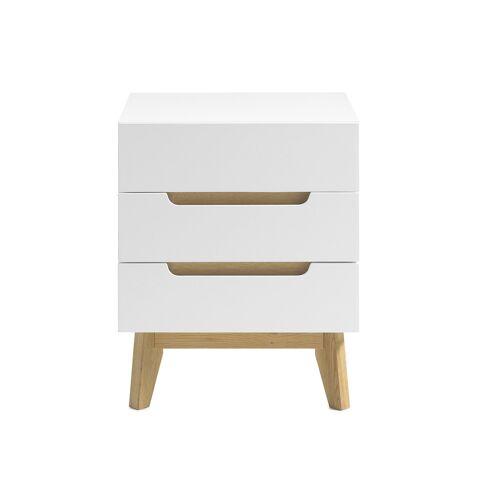 Miliboo Skandinavischer Nachttisch 3 Schubladen matt weiß und Holz SKIVE