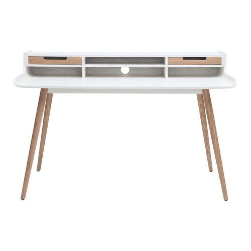 Miliboo Skandinavischer Schreibtisch aus Holz und weiß L140 cm OPUS