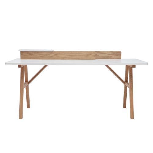 Miliboo Skandinavischer Schreibtisch Holz und Weiß L 180cm TOGARY