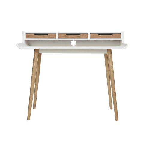 Miliboo Skandinavischer Schreibtisch weißes Holz mit Aufbewahrungsmöglichkeiten OPUS