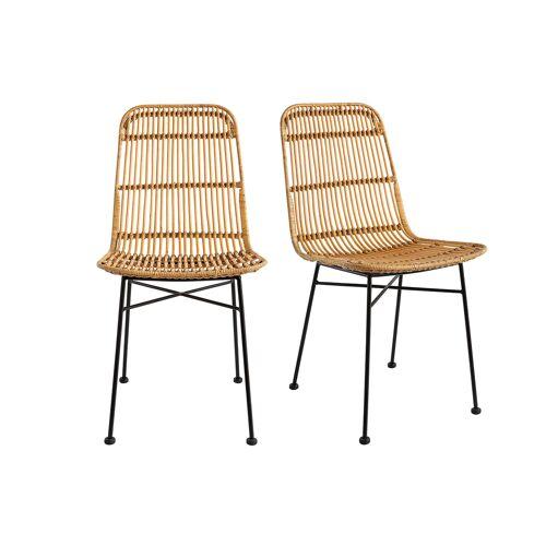 Miliboo Stühle aus Rattan naturfarben 2-er Set MALACCA