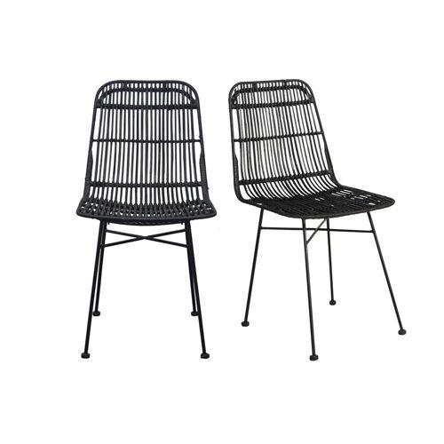 Miliboo Stühle Rattan Natur schwarz lackiert 2 Stk. MALACCA