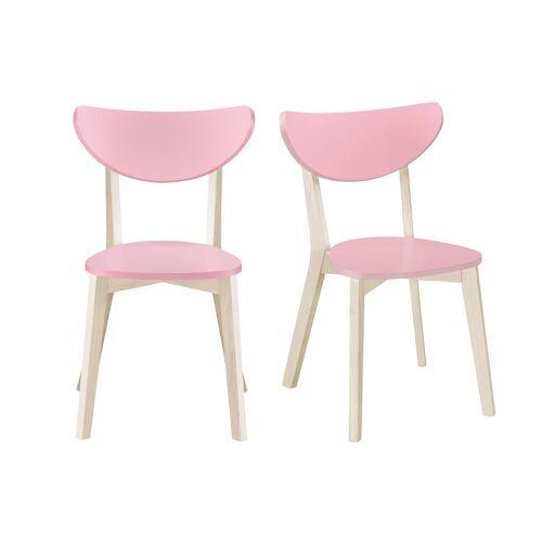 Miliboo Stühle skandinavisch Rosa und helles Holz (2er-Set) LEENA