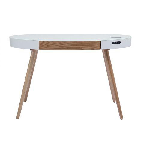 Miliboo Vernetzter Multimedia-Schreibtisch - Glas Weiß und helles Holz HANDY