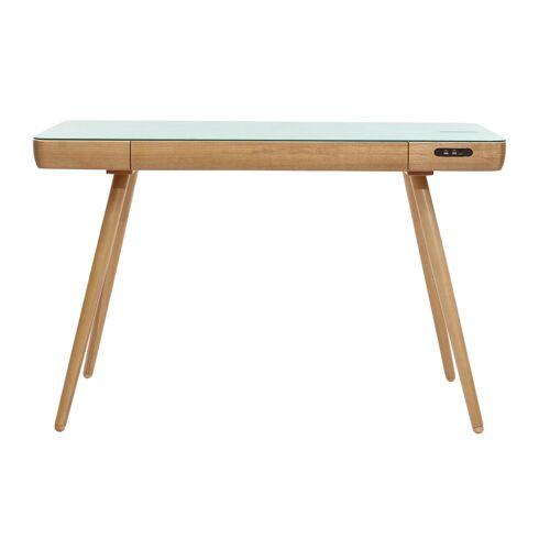 Miliboo Vernetzter Multimedia-Schreibtisch - weißes Glas und helles Holz CLEVER