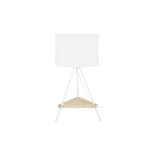 Miliboo Designer-Tischlampe Metall weiß aus Holz YIN