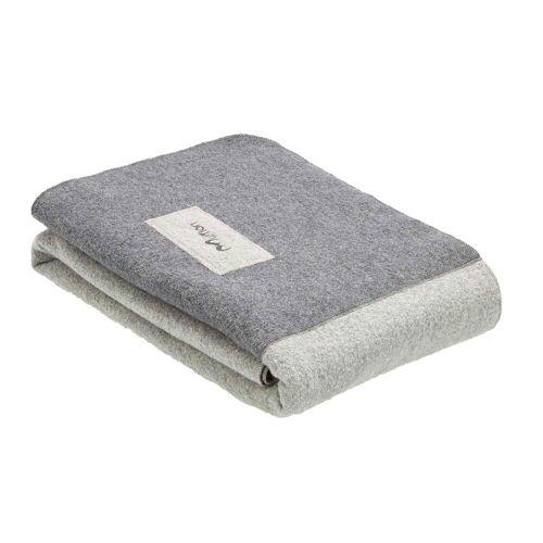 Mufflon BLANKET - Decke - Gr. 200 X 140 - FOG GREY / weiß grau
