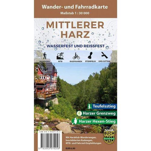 Mittlerer Harz Wander- und Fahrradkarte 1 : 30 000 -  Fahrradkarten