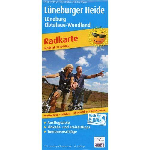 Radwanderkarte Lüneburger Heide - Lüneburg, Elbtalaue-Wendland  1:100 000 -  Fahrradkarten
