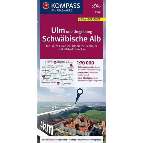 KOMPASS Fahrradkarte Ulm und Umgebung, Schwäbische Alb 1:70.000, FK 3346 -  Fahrradkarten