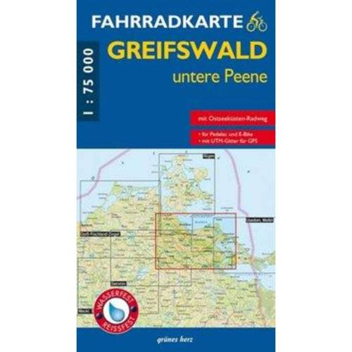 Fahrradkarte Greifswald, untere Peene 1:75.000 -  Fahrradkarten