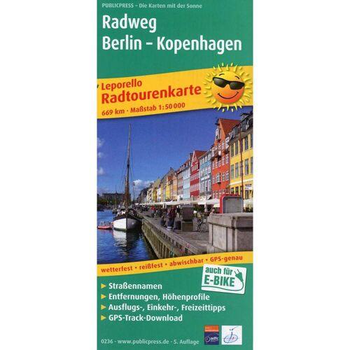 Radtourenkarte Radweg Berlin - Kopenhagen 1 : 50 000 -  Fahrradkarten