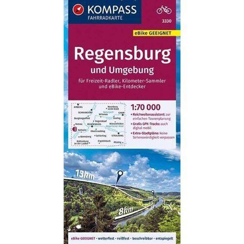 KOMPASS Fahrradkarte Regensburg und Umgebung 1:70.000, FK 3330 -  Fahrradkarten